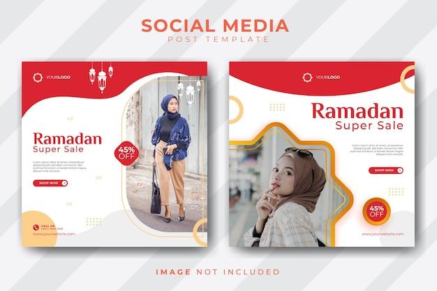 Ensemble de modèle de publication de médias sociaux minimaliste ramadan grande vente