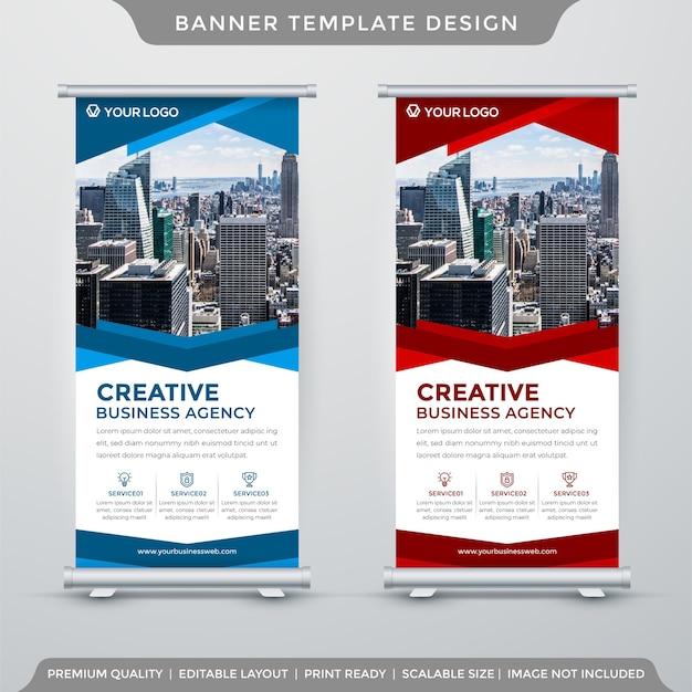 Ensemble De Modèle De Rollup Ou De X-banner Dans Le Style De L'entreprise Vecteur Premium