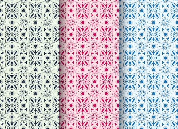 Ensemble de modèle sans couture abstrait avec des formes abstraites comme un virus et un papillon. les couleurs pastel sont bleues, violettes et roses.
