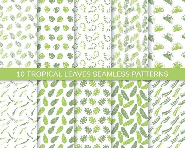 Ensemble de modèle sans couture de feuilles tropicales