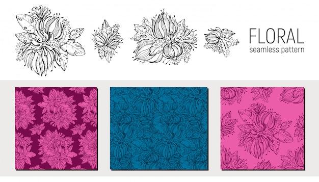 Ensemble de modèle sans couture floral dessiné à la main