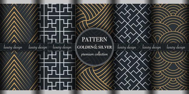 Ensemble de modèle sans couture géométrique abstrait doré et argenté