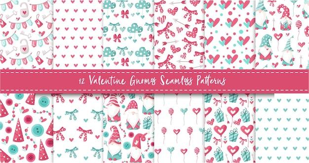 Ensemble de modèle sans couture de gnome de la saint-valentin - gnomes de jour de valentine de dessin animé, coeurs, ballon, arc, nuage, papier numérique sans fin de pépinière en rose et menthe poivrée, fond pour textile, scrapbooking, emballage