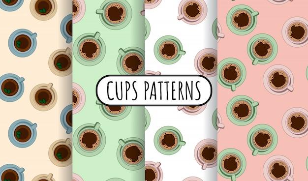 Ensemble de modèle sans couture de tasses à thé et à café
