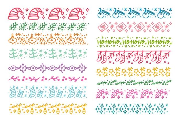 Ensemble de modèle sans couture sur le thème de noël brush doodle vector illustration