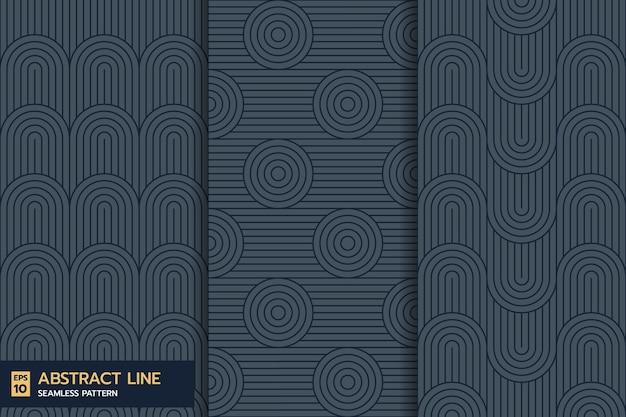 Ensemble de modèle sans couture de vague de ligne abstraite classique