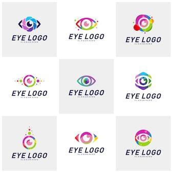 Ensemble de modèle de vecteur de concept oeil logo design. icône de média coloré. idée de concept vision logotype.