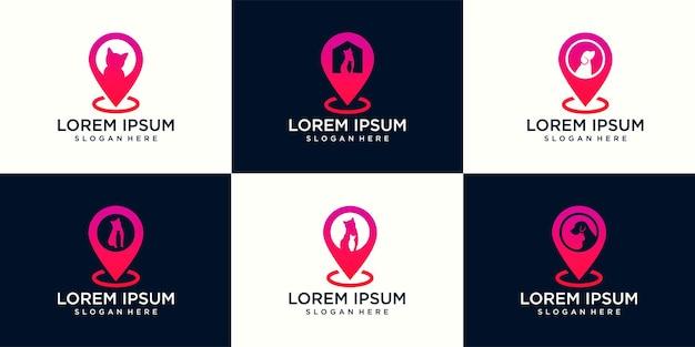 Ensemble de modèle de vecteur de conception de chat de chien de logo et combinaison de logo de pointeur de carte. animaux clinique vétérinaire icône de contour de concept de logotype.