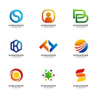 Ensemble de modèle de vecteur de conception de logo d'entreprise