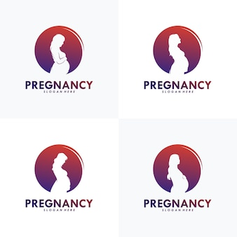 Ensemble De Modèle De Vecteur De Conception De Logo De Grossesse Vecteur Premium