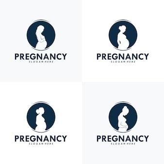 Ensemble de modèle de vecteur de conception de logo de grossesse