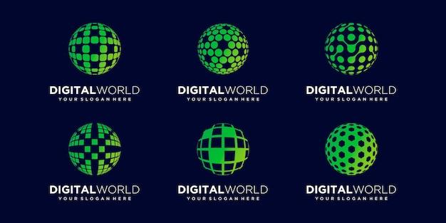 Ensemble de modèle de vecteur de conception de logo numérique de la terre abstraite.