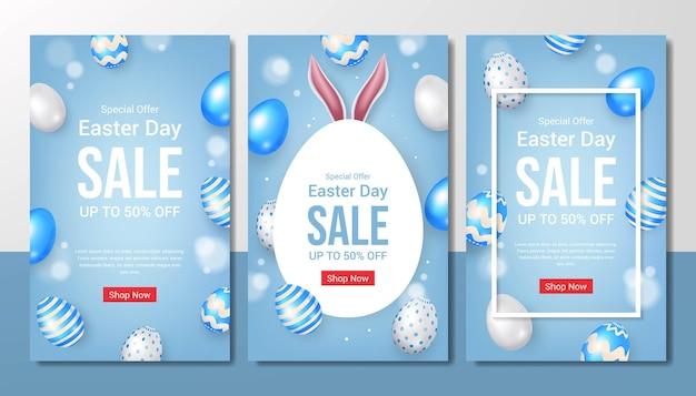 Ensemble de modèle de vente joyeux jour de pâques