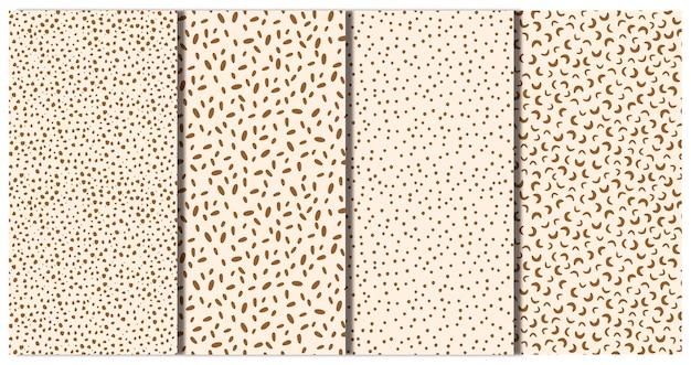 Ensemble de modèles abstraits vectorielle continue. taches brunes, points, motifs géométriques irréguliers.