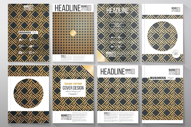 Ensemble de modèles d'affaires pour brochure. motif islamique en or avec des formes géométriques carrées