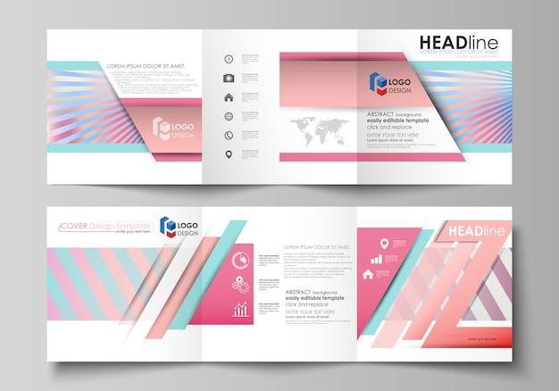 Ensemble de modèles d'affaires pour les brochures carrées tri pli.