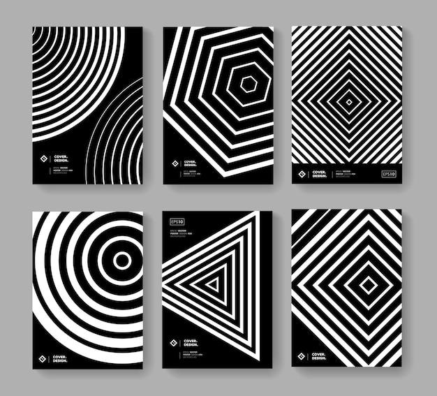 Ensemble de modèles d'affiche de formes géométriques abstraites. conception de vecteur de motif monochrome moderne. arrière-plan minimal à la mode pour les brochures, les pancartes, les bannières, les couvertures.