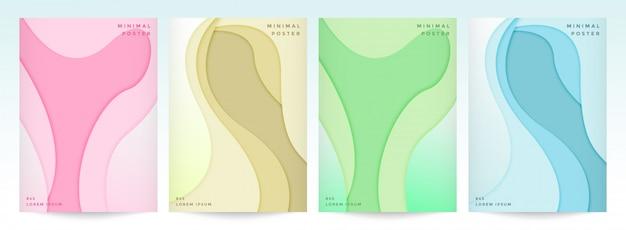 Ensemble De Modèles D'affiche En Papier Coupé Style Vecteur Premium