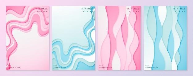 Ensemble De Modèles D'affiches Dans Un Style De Papier Découpé Doux. Vecteur Premium