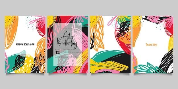 Ensemble de modèles artistiques universels créatifs abstraits. bon pour l'affiche, la carte, l'invitation, le dépliant, la couverture, la bannière, la pancarte, la brochure et toute autre conception graphique.