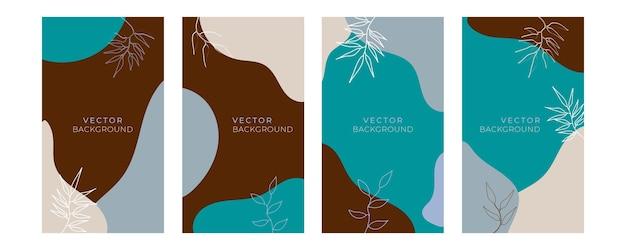 Ensemble de modèles artistiques universels floraux avec une couleur pastel or bleu. bon pour les cartes de vœux, les invitations, les dépliants et autres graphismes. carte de voeux florale carrée