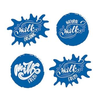 Ensemble de modèles de badge avec lettrage de lait. illustration vectorielle