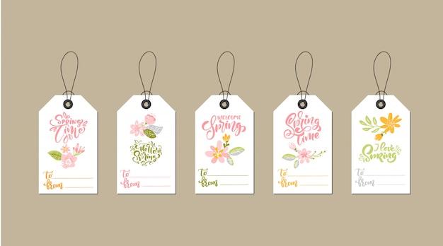 Ensemble de modèles de balises créatives mignonnes avec design de thème de fleurs et texte de printemps de lettrage de calligraphie