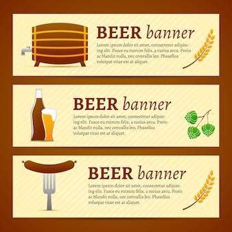 Ensemble de modèles de bannière de bière