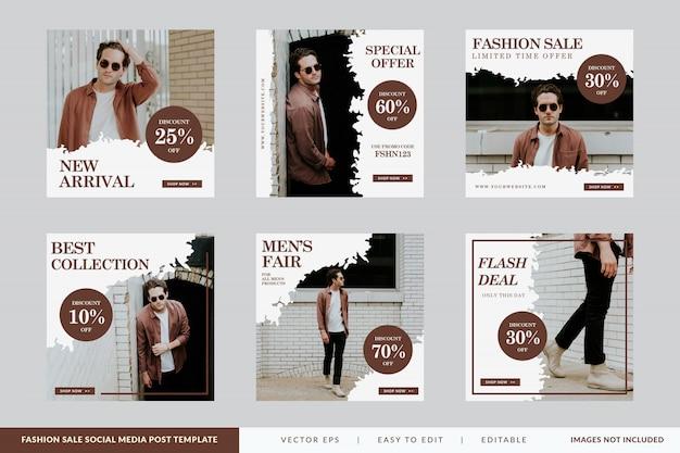 Ensemble de modèles de bannière carrée de vente de mode minimaliste