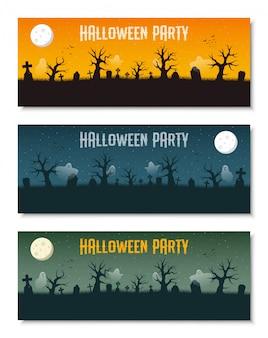 Ensemble de modèles de bannière entreprise halloween heureux, illustration