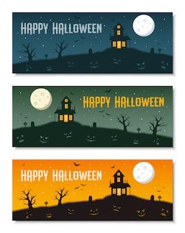 Ensemble de modèles de bannière entreprise halloween heureux,