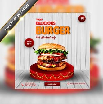 Ensemble de modèles de bannière de médias sociaux de délicieux burger de menu de nourriture de luxe