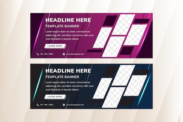 Ensemble de modèles de bannière de médias sociaux avec des éléments diagonaux pour une photo.