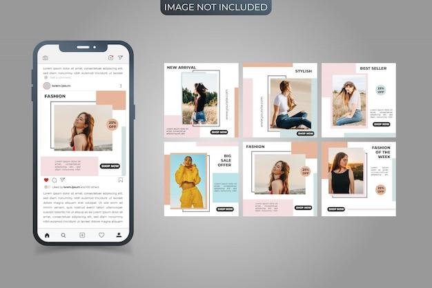 Ensemble de modèles de bannière de médias sociaux instagram post square