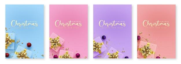 Ensemble de modèles de bannière de noël d'illustrations vectorielles de nouvel an avec des cartes postales cadeaux avec fond