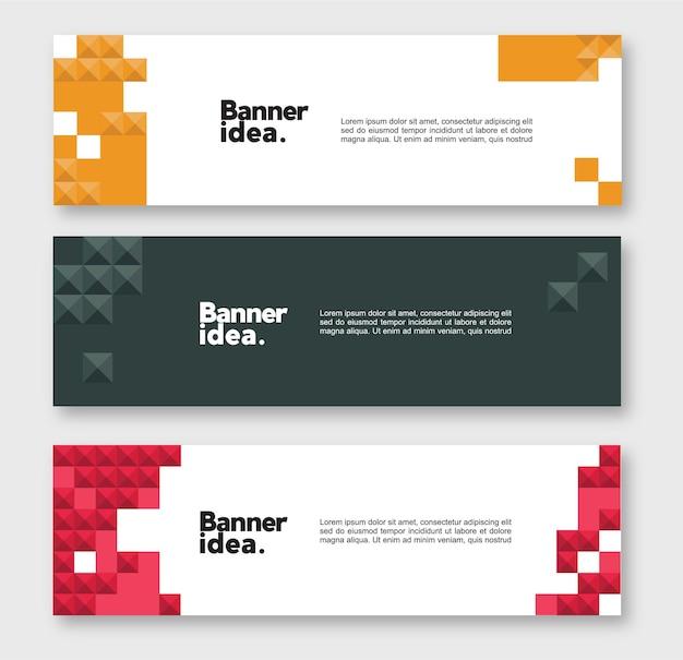Ensemble de modèles de bannière de site web géométrique abstrait moderne mis en conception vectorielle