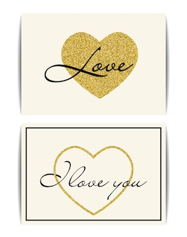 Ensemble de modèles de bannière avec symbole d'amour.
