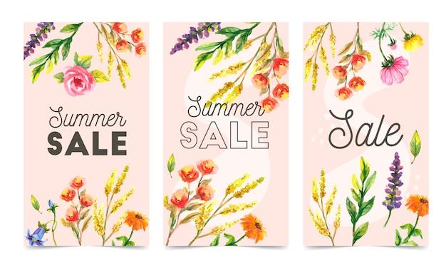 Ensemble de modèles de bannière web abstrait avec fond floral. des tailles différentes