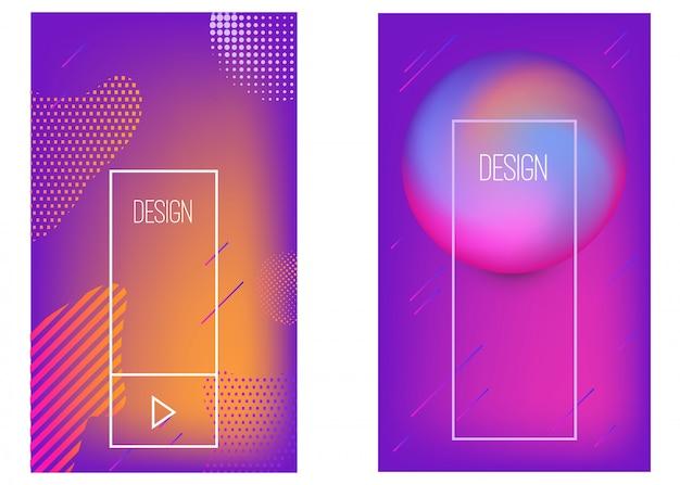 Ensemble de modèles de bannières avec des formes abstraites dégradées vibrantes. élément pour affiche, carte, flyer, présentation, brochures, couverture. image