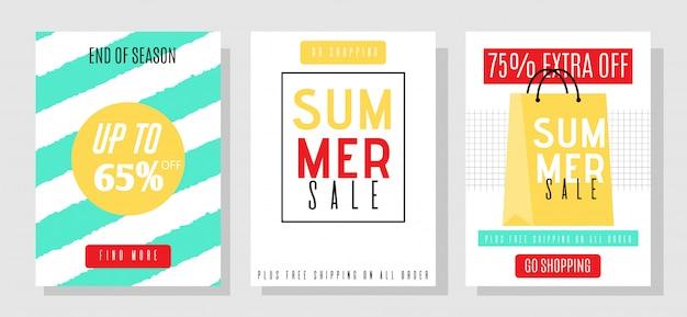 Ensemble de modèles de bannières de médias publicitaires avec offre de vente d'été