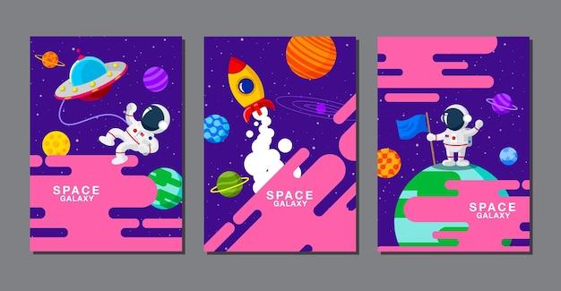 Ensemble de modèles de bannières. univers. espacer. galaxie spatiale, conception. illustration