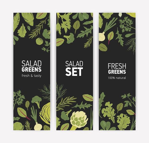 Ensemble de modèles de bannières verticales avec des feuilles de salade savoureuses fraîches et des herbes épicées