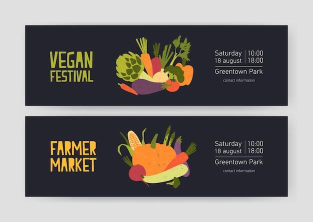 Ensemble de modèles de bannières web avec des cultures récoltées et des légumes cueillis et place pour le texte sur le noir