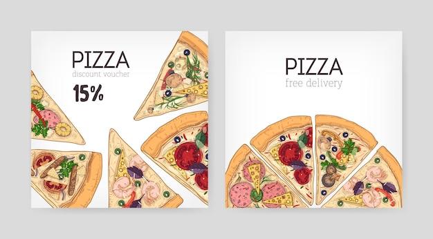 Ensemble de modèles de bons de réduction carrés pour un restaurant italien avec une délicieuse pizza coupée en tranches