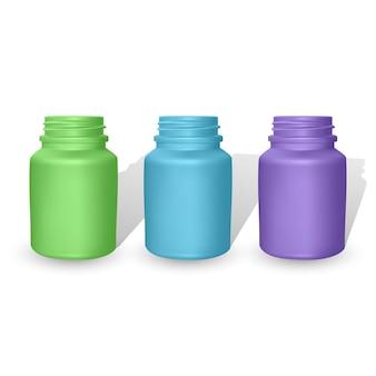 Ensemble de modèles de bouteilles en plastique réalistes. bouteilles colorées vides
