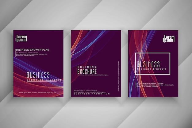 Ensemble de modèles de brochure abstrait affaires ondulées
