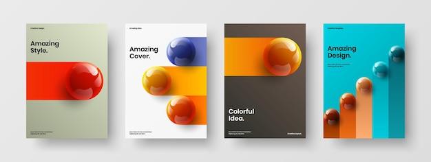 Ensemble de modèles de brochure d'orbes 3d créatifs