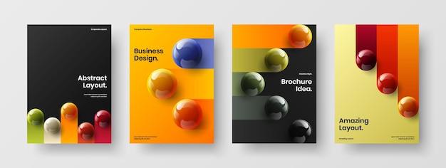 Ensemble de modèles de brochures d'orbes réalistes multicolores