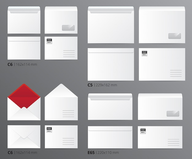 Ensemble de modèles de bureau papier des enveloppes de courrier réaliste triés par taille de lettre avec illustration vectorielle de légendes de texte appropriées