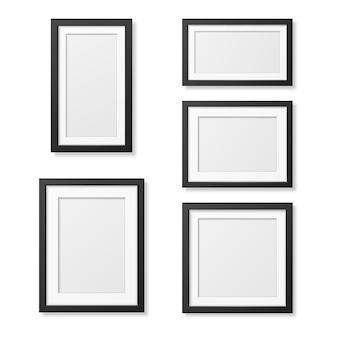 Ensemble de modèles de cadre d'image vierge réaliste isolé sur blanc.